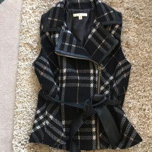 Cabi leather trim plaid wool vest